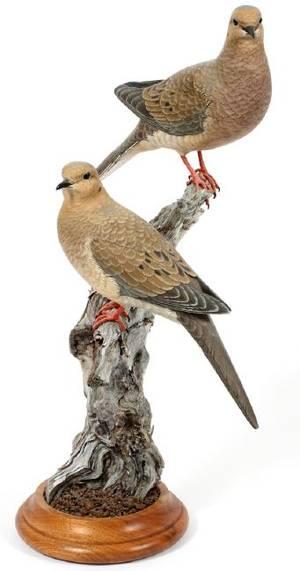 UNKNOWN ARTIST CARVED WOOD BIRD SCULPTURE