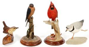 CARVED WOOD BIRD SCULPTURES 4 PIECES