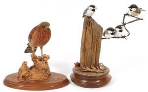 CARVED WOOD BIRD SCULPTURES 2 PIECES