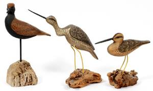 CARVED WOOD BIRD SCULPTURES 3 PIECES