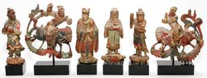 CHINESE CARVED WOOD POLYCHROME FIGURES 6 PIECES