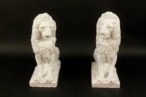 Pair of White Glazed Ceramic Lions