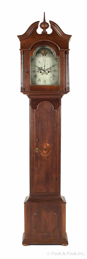 New Jersey Chippendale cherry tall case clock late 18th c