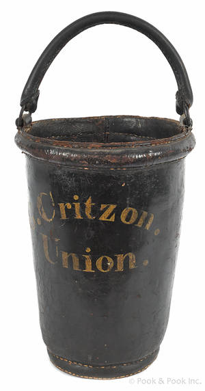 Painted leather fire bucket early 19th c