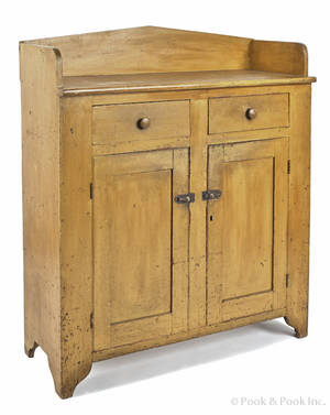 Berks County Pennsylvania painted pine jelly cupboard 19th c