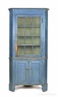 Pennsylvania twopart painted pine corner cupboard ca 1820