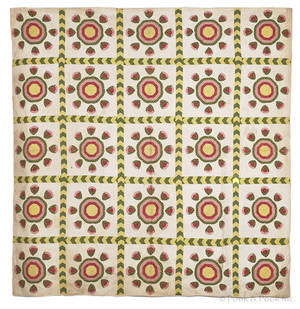 Pieced and appliqu rose bud quilt 19th c