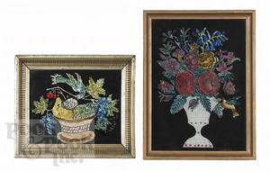 Two foil and watercolor still life paintings