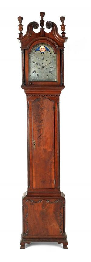 Philadelphia Chippendale walnut tall case clock ca 1775