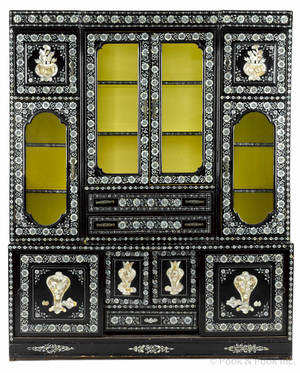 Chinese mother of pearl inlaid lacquer cabinet