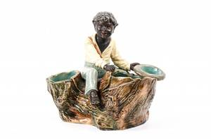 Majolica African American Figural Smoking Stand