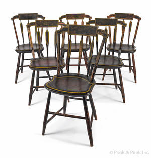 Set of six New England painted arrowback dining chairs ca 1825