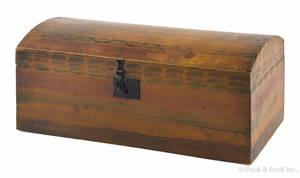New England painted basswood dome lid trunk ca 1820