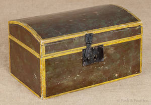 New England painted basswood dome lid box ca 1830