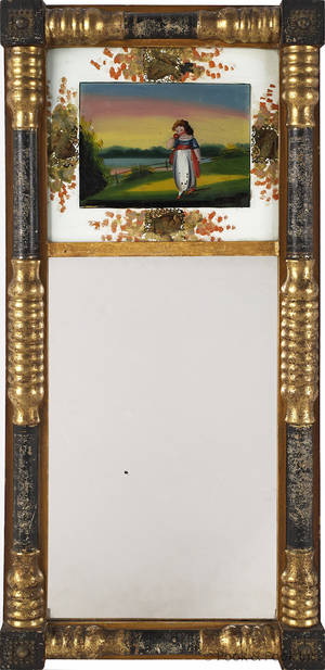 Sheraton gilt and ebonized mirror