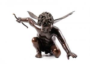 Bronze Figural Sculpture of a Winged Cherub