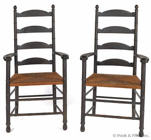 Pair of rush seat ladderback armchairs