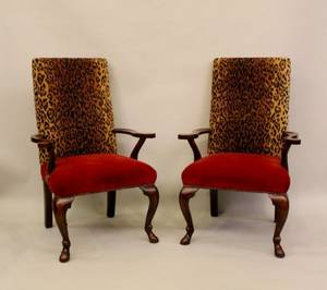 A Pair of Mahogany Framed Arm Chairs