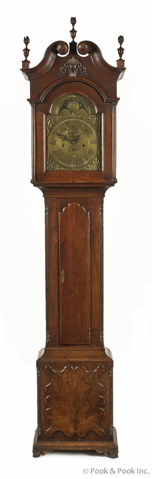 Lancaster Pennsylvania Chippendale walnut tall case clock ca 1775