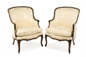 Pair of Louis XV Style Damask Upholstered Bergeres