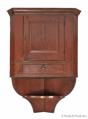 Lancaster County Pennsylvania painted pine hanging corner cupboard late 18th c