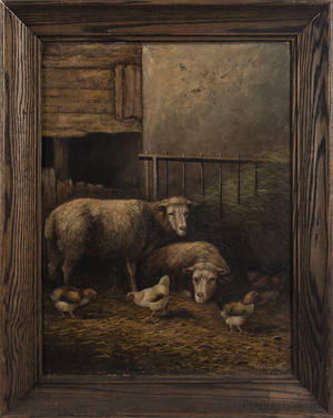 Oil on canvas barn scene