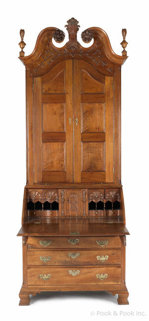 The William Barch Lancaster Pennsylvania Chippendale carved walnut desk and bookcase signed by cabinet maker William Dennis and dated
