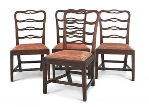 Set of four Philadelphia Chippendale mahogany ribbonback dining chairs ca 1780