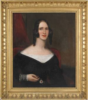 Oil on canvas portrait of a lady 19th c