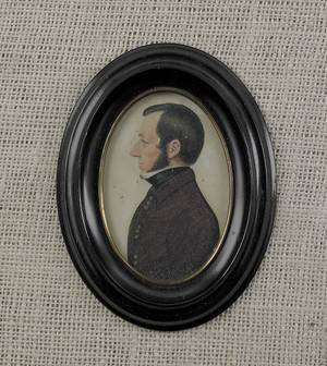 Miniature watercolor on paper portrait of a gentleman early 19th c