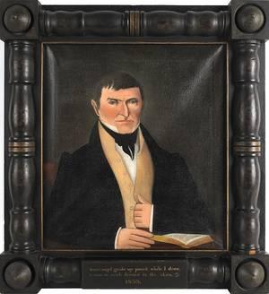 American oil on canvas folk portrait of a gentleman 19th c