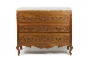 French Provincial Style Oak Three Drawer Commode