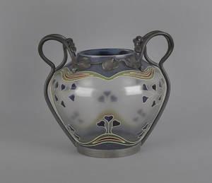 Art Nouveau art glass vase with pewter mounts