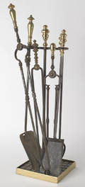 Group of brass and iron fireplace tools Provenance the Collection of Charlene Sussel