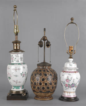 Two porcelain table lamps