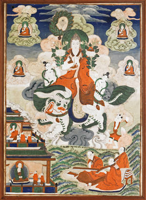Pair of Tibetan painted thangkas