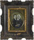 Miniature China Trade watercolor on ivory portrait of a mother and son