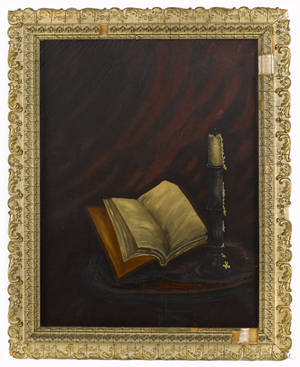 American oil on canvas still life with a candle and book