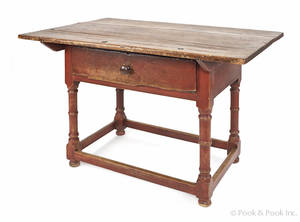 William  Mary painted pine and maple tavern table 18th c