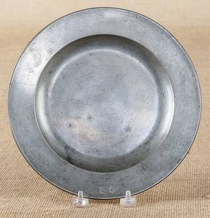 Pewter plate of Pennsylvania interest 18th c