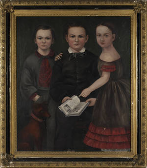 American oil on canvas folk portrait ca 1850