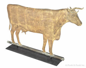 Swell bodied copper cow weathervane 19th c