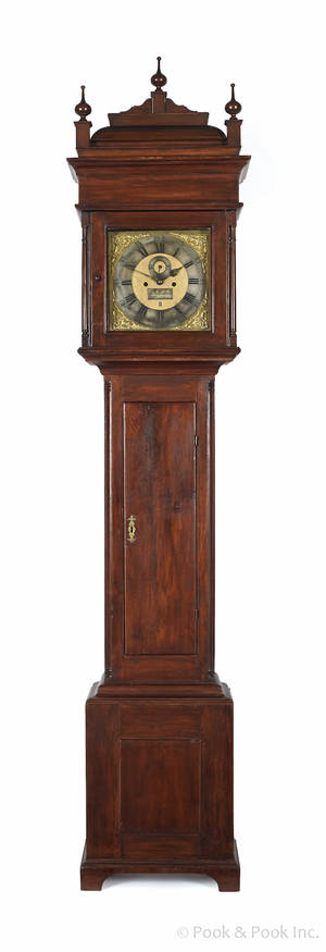 Burlington New Jersey Queen Anne walnut tall case clock ca 1760