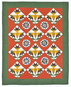 Pennsylvania pieced and appliqu Mariners Compass and floral block quilt late 19th c