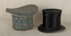 Wallpaper hat box 19th c