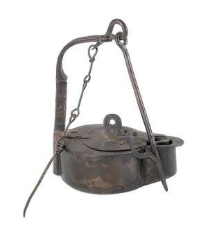 Pennsylvania wrought iron fat lamp dated