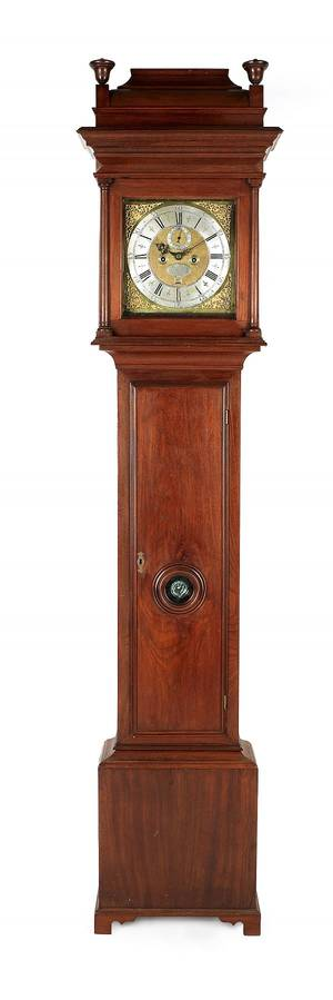 Philadelphia Queen Anne walnut tall case clock ca 1750