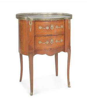 French marble top end table