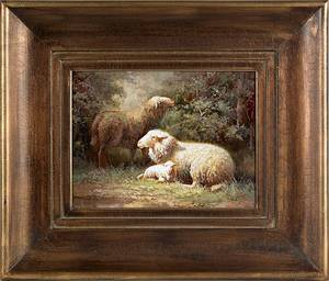 Contemporary oil on canvas of sheep