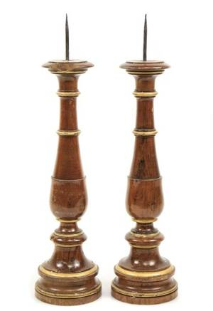 Pair of 19th C French Walnut  Gilt Candlesticks